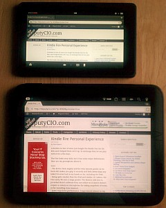 Kindle Fire next to my TouchPad