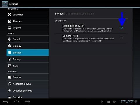 "Select ""Media device (MTP)"""